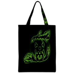 Pumpkin Black Halloween Neon Green Face Mask Smile Zipper Classic Tote Bag by Alisyart