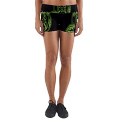 Pumpkin Black Halloween Neon Green Face Mask Smile Yoga Shorts
