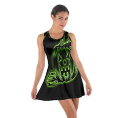 Pumpkin Black Halloween Neon Green Face Mask Smile Cotton Racerback Dress by Alisyart