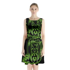Pumpkin Black Halloween Neon Green Face Mask Smile Sleeveless Waist Tie Chiffon Dress