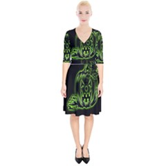 Pumpkin Black Halloween Neon Green Face Mask Smile Wrap Up Cocktail Dress