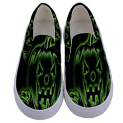 Pumpkin Black Halloween Neon Green Face Mask Smile Kids  Canvas Slip Ons