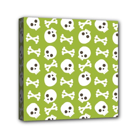 Skull Bone Mask Face White Green Mini Canvas 6  x 6