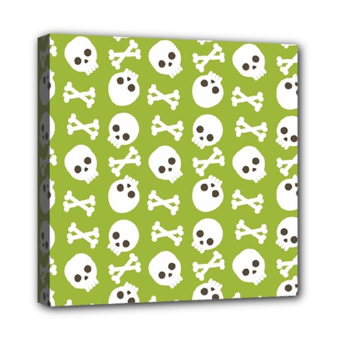 Skull Bone Mask Face White Green Mini Canvas 8  x 8