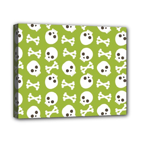 Skull Bone Mask Face White Green Canvas 10  x 8