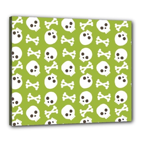 Skull Bone Mask Face White Green Canvas 24  x 20