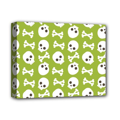 Skull Bone Mask Face White Green Deluxe Canvas 14  x 11