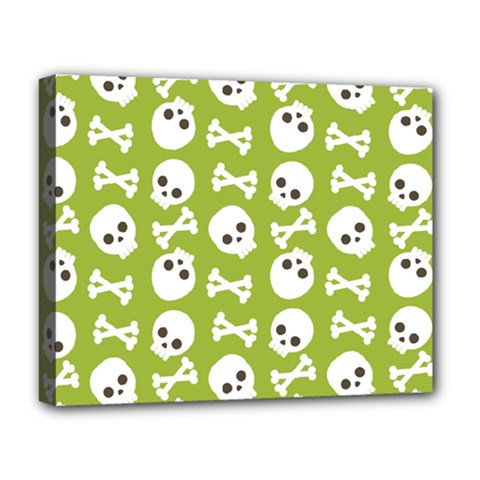 Skull Bone Mask Face White Green Deluxe Canvas 20  x 16
