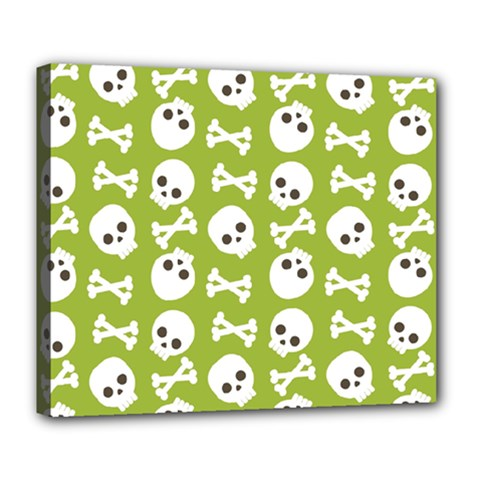 Skull Bone Mask Face White Green Deluxe Canvas 24  x 20