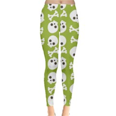 Skull Bone Mask Face White Green Leggings