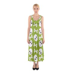 Skull Bone Mask Face White Green Sleeveless Maxi Dress