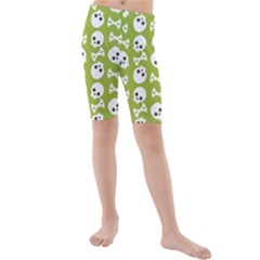 Skull Bone Mask Face White Green Kids  Mid Length Swim Shorts