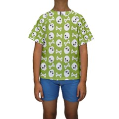 Skull Bone Mask Face White Green Kids  Short Sleeve Swimwear