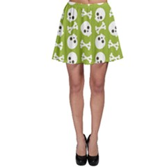 Skull Bone Mask Face White Green Skater Skirt