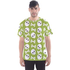 Skull Bone Mask Face White Green Men s Sports Mesh Tee