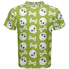 Skull Bone Mask Face White Green Men s Cotton Tee