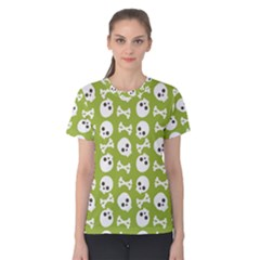Skull Bone Mask Face White Green Women s Cotton Tee