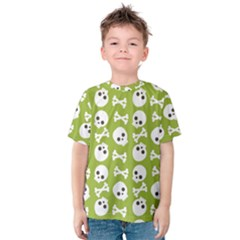 Skull Bone Mask Face White Green Kids  Cotton Tee