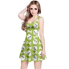 Skull Bone Mask Face White Green Reversible Sleeveless Dress