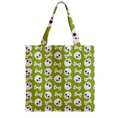 Skull Bone Mask Face White Green Grocery Tote Bag