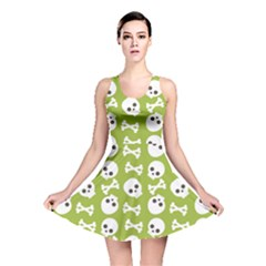 Skull Bone Mask Face White Green Reversible Skater Dress