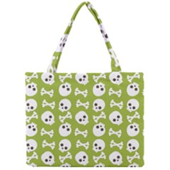 Skull Bone Mask Face White Green Mini Tote Bag