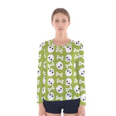 Skull Bone Mask Face White Green Women s Long Sleeve Tee