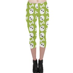 Skull Bone Mask Face White Green Capri Leggings