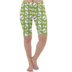 Skull Bone Mask Face White Green Cropped Leggings