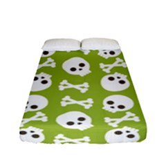 Skull Bone Mask Face White Green Fitted Sheet (Full/ Double Size)