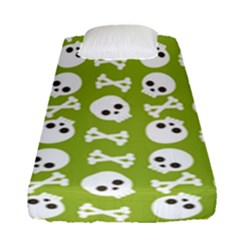Skull Bone Mask Face White Green Fitted Sheet (Single Size)
