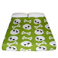 Skull Bone Mask Face White Green Fitted Sheet (Queen Size)