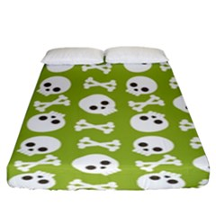 Skull Bone Mask Face White Green Fitted Sheet (King Size)