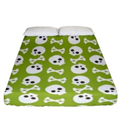 Skull Bone Mask Face White Green Fitted Sheet (California King Size)