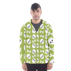 Skull Bone Mask Face White Green Hooded Wind Breaker (Men)