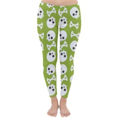 Skull Bone Mask Face White Green Classic Winter Leggings