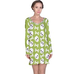 Skull Bone Mask Face White Green Long Sleeve Nightdress