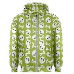 Skull Bone Mask Face White Green Men s Zipper Hoodie