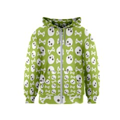Skull Bone Mask Face White Green Kids  Zipper Hoodie