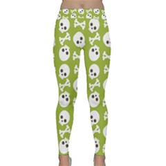 Skull Bone Mask Face White Green Classic Yoga Leggings