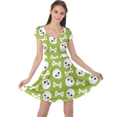 Skull Bone Mask Face White Green Cap Sleeve Dress