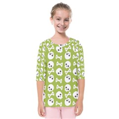 Skull Bone Mask Face White Green Kids  Quarter Sleeve Raglan Tee