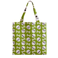 Skull Bone Mask Face White Green Zipper Grocery Tote Bag