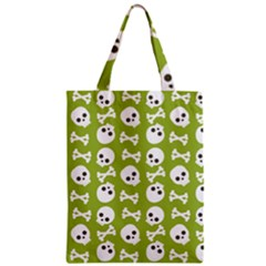 Skull Bone Mask Face White Green Zipper Classic Tote Bag