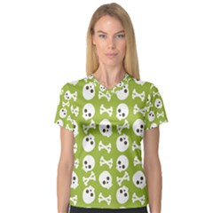 Skull Bone Mask Face White Green V-Neck Sport Mesh Tee