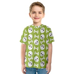 Skull Bone Mask Face White Green Kids  Sport Mesh Tee