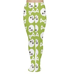 Skull Bone Mask Face White Green Women s Tights