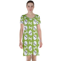 Skull Bone Mask Face White Green Short Sleeve Nightdress