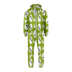Skull Bone Mask Face White Green Hooded Jumpsuit (Kids)