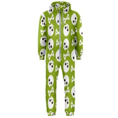 Skull Bone Mask Face White Green Hooded Jumpsuit (Men)